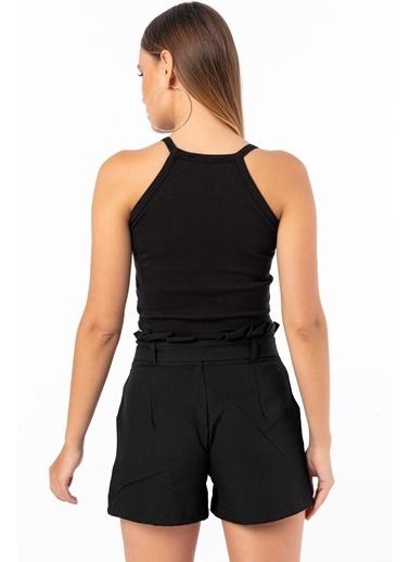 Emjey Askılı Bluz Siyah